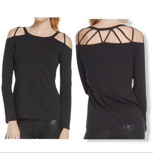 Fabletics Sunburst Tee Ladies Black Long Sleeve M